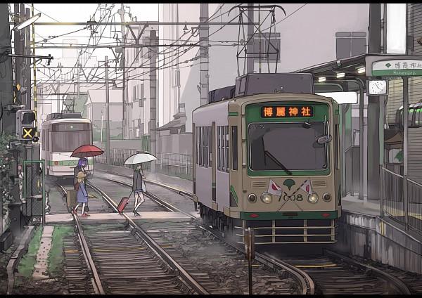 Tags: Anime, Sakura Sora, Touhou, Kochiya Sanae, Moriya Suwako, Yasaka Kanako, Railroad Tracks, Train Station, Suitcase, Contemporary, Fanart From Pixiv, Pixiv, Fanart