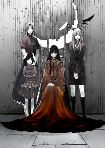 Tags: Anime, Onigunsou, Touhou, Houraisan Kaguya, Inaba Tewi, Reisen Udongein Inaba, Yagokoro Eirin, Mobile Wallpaper