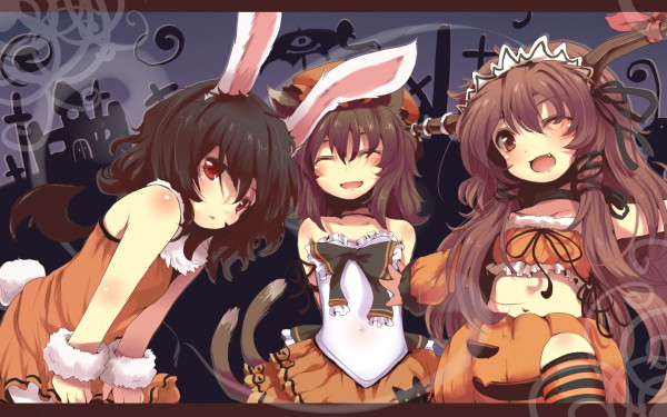 Tags: Anime, Nejime, Touhou, Chen, Ibuki Suika, Inaba Tewi, Pumpkin Costume, Wallpaper