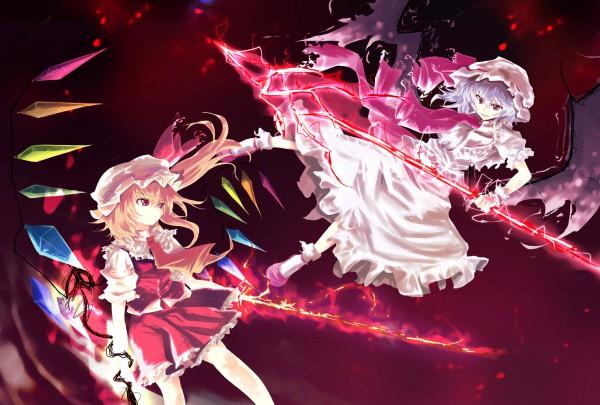 Tags: Anime, Asagi Shii, Touhou, Flandre Scarlet, Remilia Scarlet, Laevatein, Spear the Gungnir