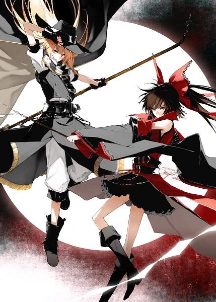Tags: Anime, Minakata Sunao, Koumajou Densetsu II Illustration Works, Koumajou Densetsu, Touhou, Kirisame Marisa, Hakurei Reimu, Mobile Wallpaper, Pixiv, Comic Market 80