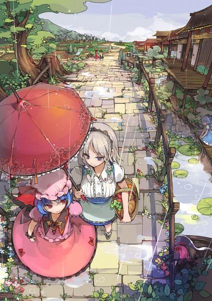 Tags: Anime, Sakura Sora, Touhou, Remilia Scarlet, Kirisame Marisa, Cirno, Onozuka Komachi, Hakurei Reimu, Izayoi Sakuya, Pixiv, Mobile Wallpaper