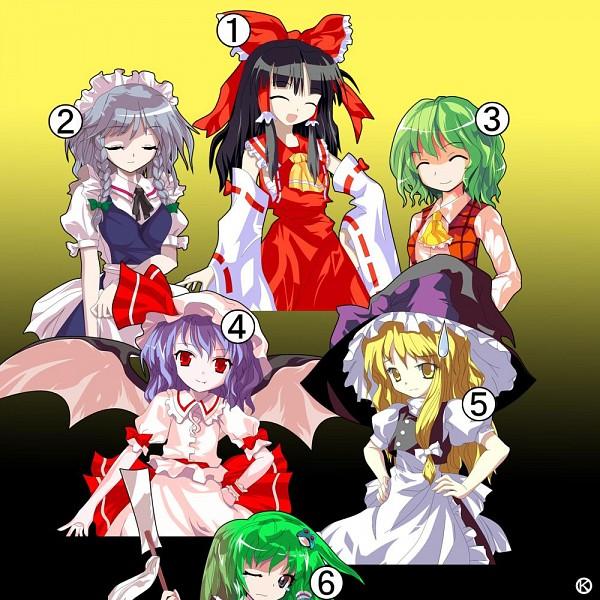 Tags: Anime, Kaoru (Gensou Yuugen-an), Touhou, Izayoi Sakuya, Remilia Scarlet, Kirisame Marisa, Kazami Yuuka, Hakurei Reimu, Kochiya Sanae, Alphes (Style)