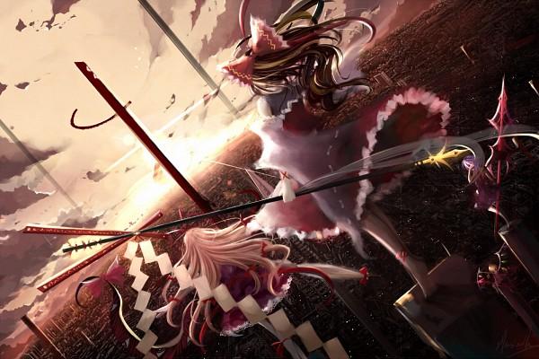 Tags: Anime, Illusionk, Touhou, Remilia Scarlet, Hakurei Reimu, Flandre Scarlet, Yakumo Yukari, Fanart, Wallpaper