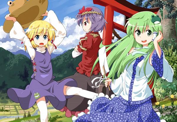 Tags: Anime, Tksymkw, Touhou, Kochiya Sanae, Moriya Suwako, Yasaka Kanako, Shimenawa, Pixiv, Fanart