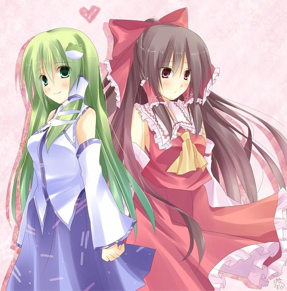 Tags: Anime, Touhou, Kochiya Sanae, Hakurei Reimu, Pixiv