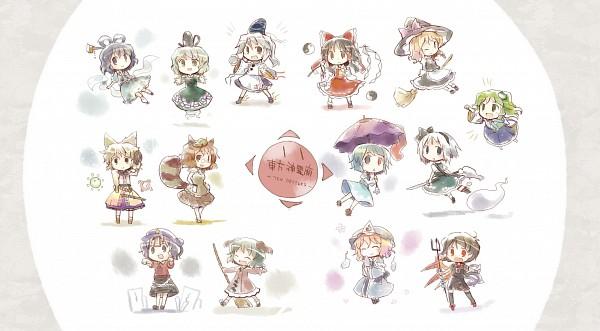 Tags: Anime, Dollar (Artist), Ten Desires, Touhou, Houjuu Nue, Futatsuiwa Mamizou, Tatara Kogasa, Soga no Tojiko, Kirisame Marisa, Miyako Yoshika, Kochiya Sanae, Mononobe no Futo, Hakurei Reimu