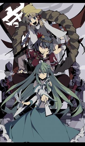 Tags: Anime, Cerberus-13, Touhou, Moriya Suwako, Yasaka Kanako, Kochiya Sanae, Shimenawa, PNG Conversion