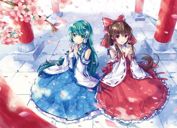 Tags: Anime, 6U☆, Touhou, Kochiya Sanae, Hakurei Reimu, Fanart, Pixiv