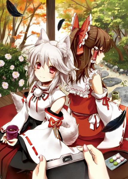 Tags: Anime, ria (DooDleBox), Touhou, Hakurei Reimu, Shameimaru Aya, Inubashiri Momiji, Fanart From Pixiv, Pixiv, Fanart, Mobile Wallpaper