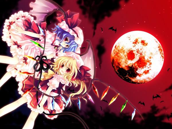 Tags: Anime, Sakurazawa Izumi, Touhou, Remilia Scarlet, Flandre Scarlet, Laevatein, Red Moon, Wallpaper
