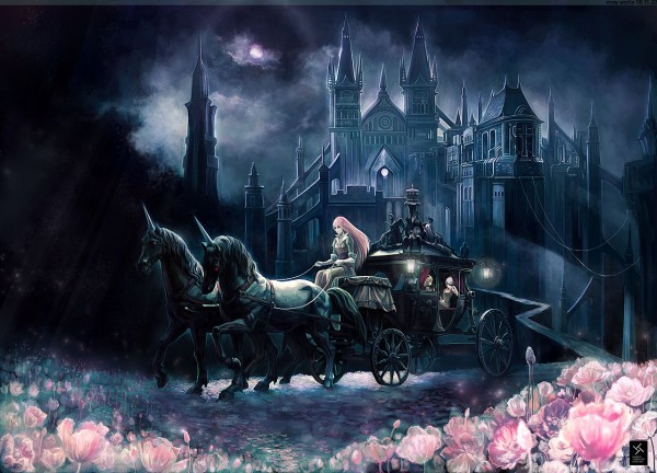 Tags: Anime, Crowdesu, World Through Fantasy, Touhou, Hong Meiling, Flandre Scarlet, Remilia Scarlet, Mansion, Carriage, Scarlet Devil Mansion, Pixiv