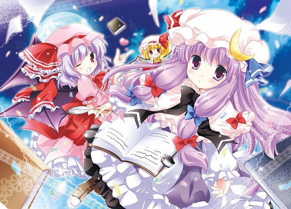 Tags: Anime, White-Brown, Touhou, Patchouli Knowledge, Remilia Scarlet, Flandre Scarlet, Fanart