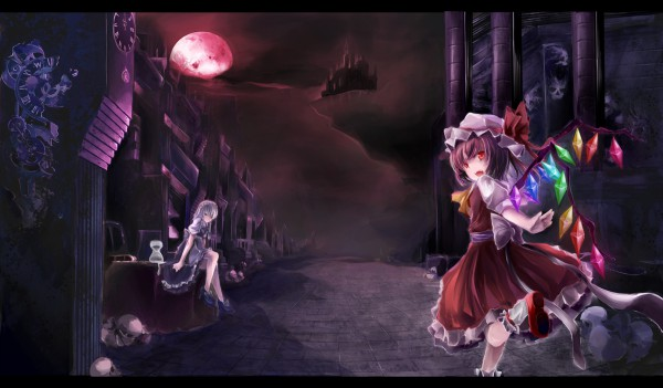 Tags: Anime, Touhou, Izayoi Sakuya, Flandre Scarlet, Red Moon, Sitting On Table, Column