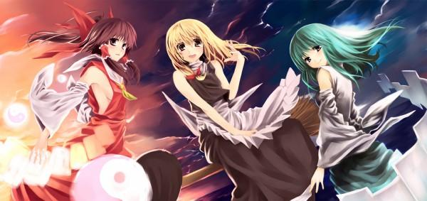 Tags: Anime, Pixiv Id 84334, Touhou, Kochiya Sanae, Kirisame Marisa, Hakurei Reimu