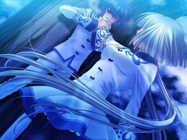 Tags: Anime, CARNELIAN, Touka Gettan, Sei (Touka Gettan), Kamiazuma Touka, Hand on Neck, Choking, CG Art