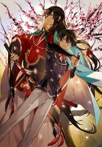 Tags: Anime, Pixiv Id 909965, Touken Ranbu, Izumi no Kami Kanesada, Horikawa Kunihiro, Mobile Wallpaper, Fanart From Pixiv, PNG Conversion, Pixiv, Fanart, Violent Blade Dance