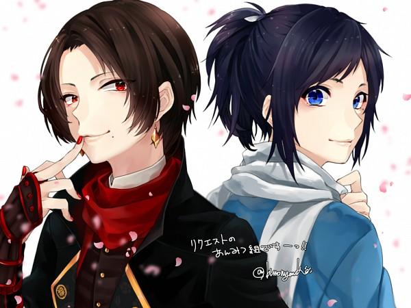 Tags: Anime, Kuro Nyanko (Pixiv1129865), Touken Ranbu, Yamato no Kami Yasusada, Kashuu Kiyomitsu, PNG Conversion, Wallpaper, Fanart, Twitter, Violent Blade Dance