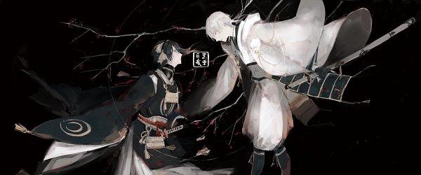 Tags: Anime, Pixiv Id 3824219, Touken Ranbu, Tsurumaru Kuninaga, Mikazuki Munechika, Tachi, Chain Necklace, Fanart, Facebook Cover, Fanart From Pixiv, Pixiv, MikaTsuru, Violent Blade Dance