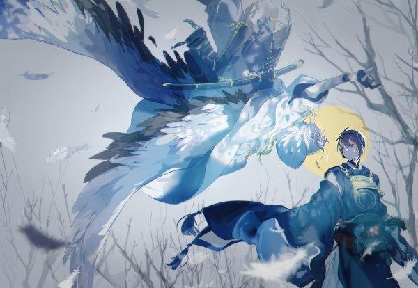 Tags: Anime, Pixiv Id 1460159, Touken Ranbu, Mikazuki Munechika, Tsurumaru Kuninaga, Cold Colors, Fanart, Fanart From Pixiv, Pixiv, MikaTsuru, Violent Blade Dance