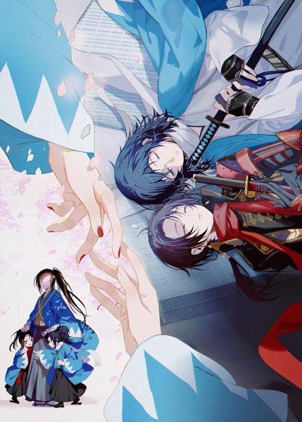 Tags: Anime, Pixiv Id 1460159, Touken Ranbu, Fan Character, Okita-gumi, Yamato no Kami Yasusada, Kashuu Kiyomitsu, Forehead Ribbon, Fanart From Pixiv, Pixiv, Fanart, Violent Blade Dance