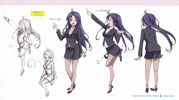 Tags: Anime, Shaft (Studio), Denpa Onna to Seishun Otoko, Touwa Meme, Wallpaper, Official Art, Facebook Cover, Character Sheet