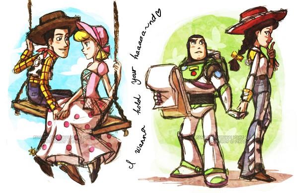 Tags: Anime, Toy Story, Jessie (Toy Story), Buzz Lightyear, Woody, Bo Peep, Cow Print, Lyrics, Swing, Brown Headwear, Cowboy, Space Suit, Brown Hat
