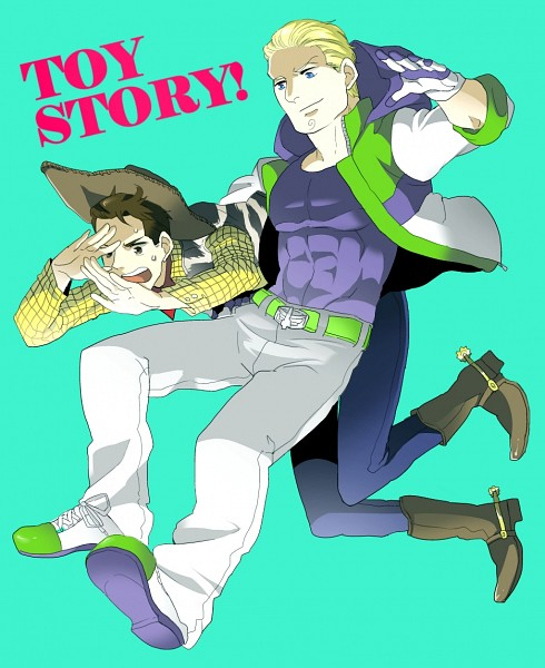 Tags: Anime, Pixiv Id 3848883, Axis Powers: Hetalia, Toy Story, Buzz Lightyear, Woody, Germany, Cowboy, Space Suit, Aqua Background, Disney, Pixar, Axis Power Countries