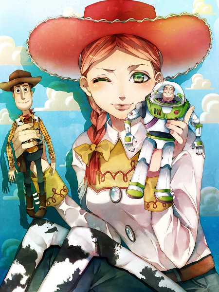 Tags: Anime, Tsukioka Tsukiho, Toy Story, Jessie (Toy Story), Buzz Lightyear, Woody, Western, Cow Print, Cowboy, Space Suit, Cowboy Boots, Pixiv, Fanart