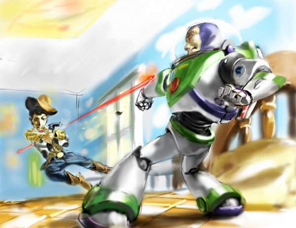 Tags: Anime, Toy Story, Buzz Lightyear, Woody, Aiming At Another, Cowboy, Space Suit, Bedroom, Cowboy Boots, Revolver, Cow Print, Disney, Pixiv