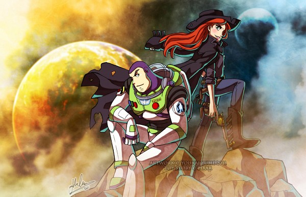 Tags: Anime, Youkai Yume, Toy Story, Jessie (Toy Story), Buzz Lightyear, Western, Space Suit, Cowboy Boots, Revolver, Cowboy, Disney