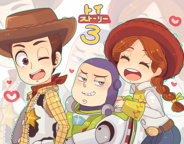 Tags: Anime, Pixiv Id 522997, Toy Story, Jessie (Toy Story), Buzz Lightyear, Woody, Sideburns, Cow Print, Cowboy, Western, Space Suit, Disney, Fanart