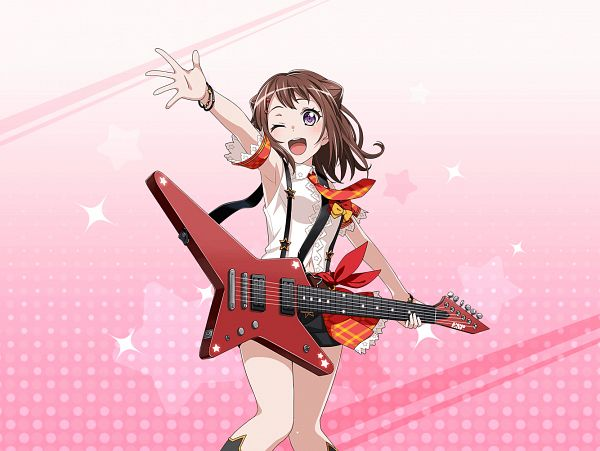 Tags: Anime, Craft Egg, BanG Dream! Girls Band Party!, Toyama Kasumi, Official Art, Official Card Illustration, PNG Conversion