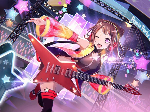 Tags: Anime, Craft Egg, BanG Dream! Girls Band Party!, Toyama Kasumi, Official Card Illustration, PNG Conversion, Official Art