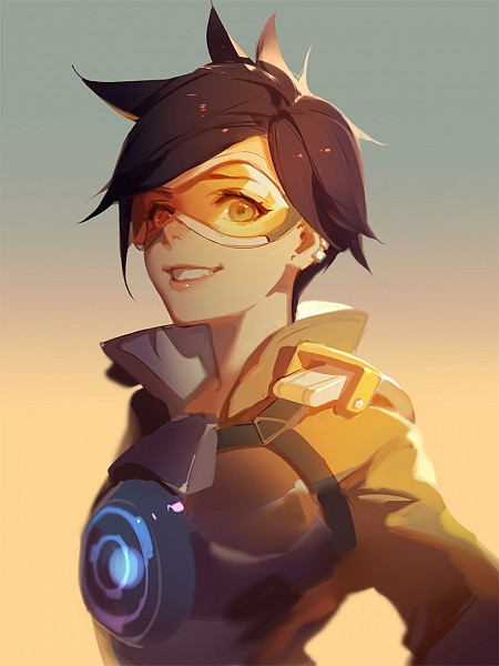 Tags: Anime, Asukaziye, Overwatch, Tracer, Ear Cuff, Pixiv, Fanart, Mobile Wallpaper, Fanart From Pixiv, PNG Conversion, Twitter