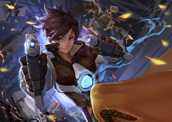 Tags: Anime, Shou Mai, Overwatch, Tracer, Dual Guns, Pixiv, Fanart, Fanart From Pixiv