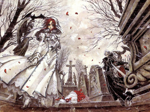 Tags: Anime, Shibamoto Thores, Trinity Blood, Esther Blanchett, Abel Nightroad, Wallpaper, Official Art