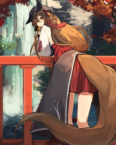 Tags: Anime, Lansane, Tsana, Waterfall, Railing, Original, Pixiv
