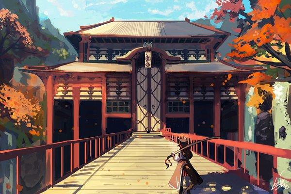 Tags: Anime, Lansane, Tsana, Waterfall, Japanese Architecture, Pixiv, Original