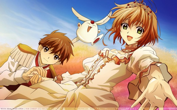 Tags: Anime, Tsubasa: RESERVoir CHRoNiCLE, Li Syaoran (TRC), Princess Sakura, Mokona Modoki, Wallpaper, Vector, Artist Request