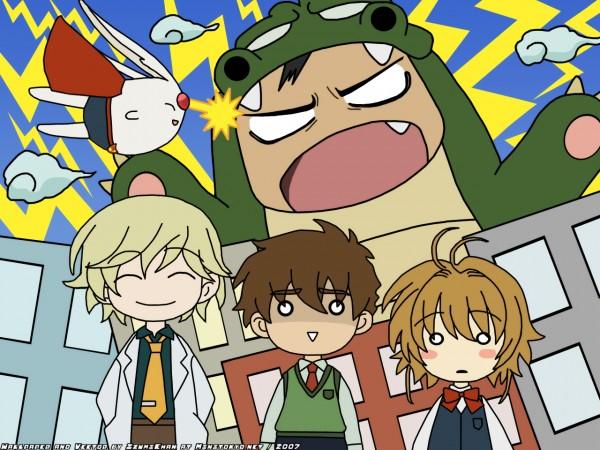 Tags: Anime, Izumichan, Tsubasa: RESERVoir CHRoNiCLE, Princess Sakura, Fay D. Flourite, Mokona Modoki, Li Syaoran (TRC), Kurogane, Godzilla, Kurozilla, Wallpaper, Vector