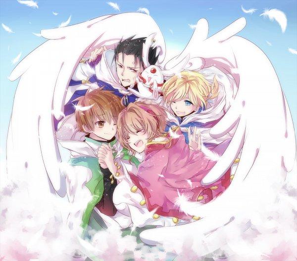 Tags: Anime, Pixiv Id 8965001, Tsubasa: RESERVoir CHRoNiCLE, Mokona Modoki, Li Syaoran (TRC), Princess Sakura, Fay D. Flourite, Kurogane, Fanart, Pixiv, Fanart From Pixiv, PNG Conversion