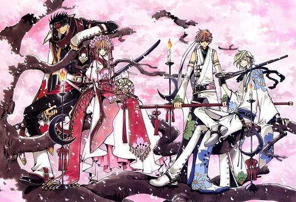 Tags: Anime, CLAMP, Tsubasa: RESERVoir CHRoNiCLE, Tsubasa Album de Reproductions, Princess Sakura, Fay D. Flourite, Mokona Modoki, Kurogane, Li Syaoran (TRC), Official Art, Scan