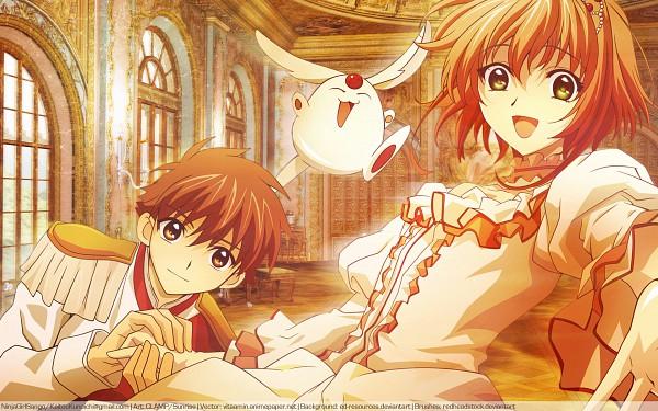 Tags: Anime, Tsubasa: RESERVoir CHRoNiCLE, Mokona Modoki, Li Syaoran (TRC), Princess Sakura, deviantART, Wallpaper, Vector