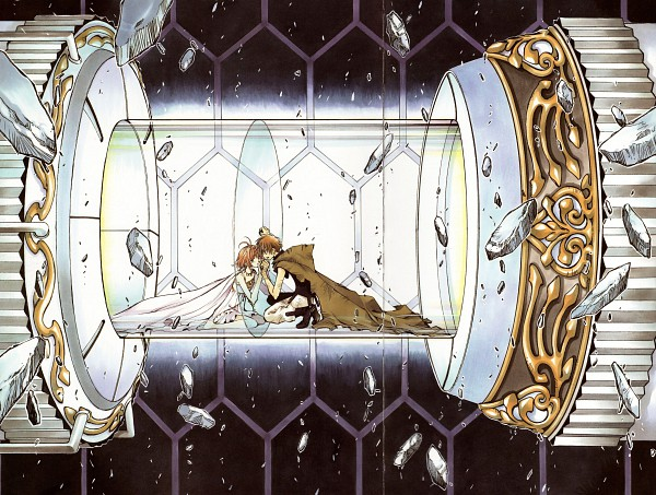 Tags: Anime, CLAMP, Tsubasa: RESERVoir CHRoNiCLE, Tsubasa Album de Reproductions, Princess Sakura, Li Syaoran (TRC), Coin (Fashion), Tunnel, Touching Through Barrier, Bruise, Machine, Official Art, Scan