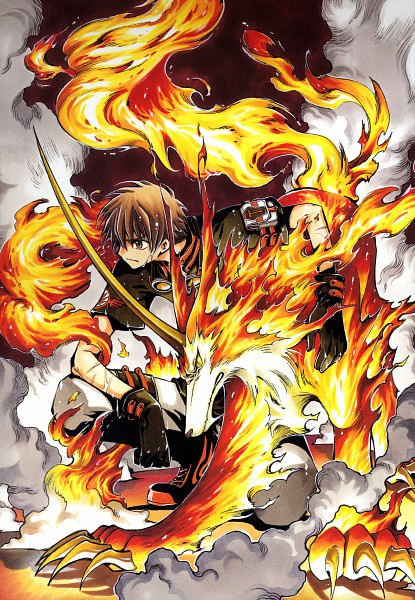 Tags: Anime, CLAMP, Tsubasa: RESERVoir CHRoNiCLE, Tsubasa Album de Reproductions, Kudan, Rayearth (TRC), Li Syaoran (TRC), Official Art, Mobile Wallpaper, Scan