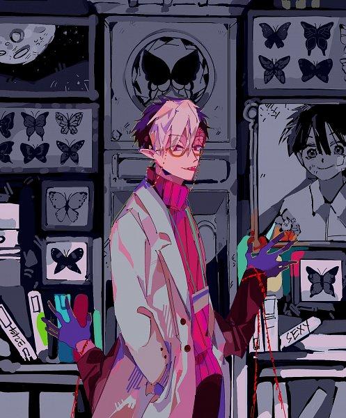Tags: Anime, Critai, Jibaku Shounen Hanako-kun, Hanako-kun, Tsuchigomori, Yugi Tsukasa, Extra Arms, Trench Coat, Purple Handwear, Name Tag, Fanart, Twitter