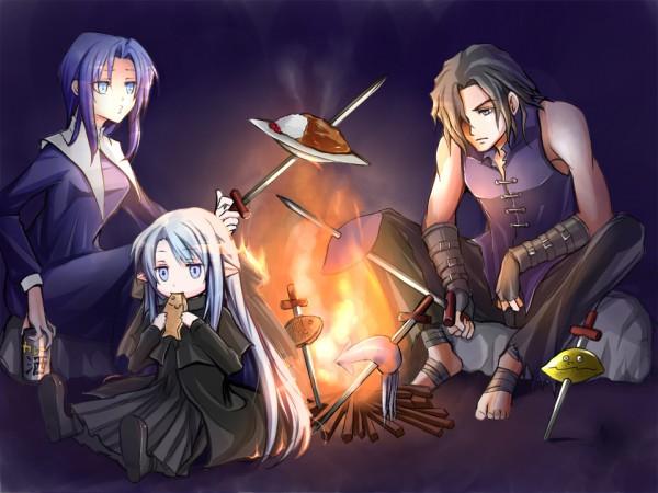 Tags: Anime, Hiko-hendlix, TYPE-MOON, Tsukihime, Kishima Kouma, Ciel (Tsukihime), Len (Tsukihime), Campfire, Lunar Legend Moon Princess