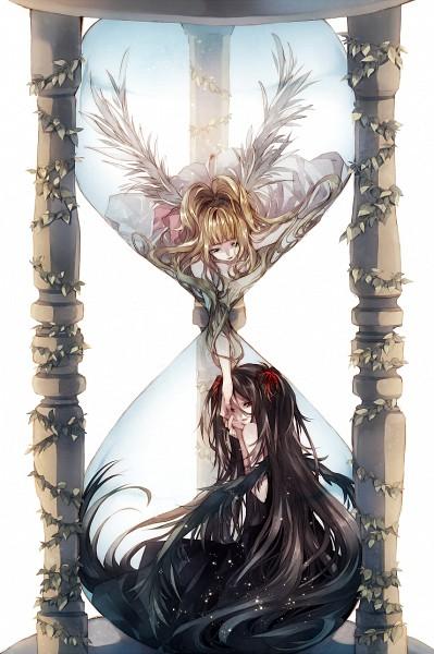 Tags: Anime, Tsukioka Tsukiho, Ivy, Hourglass, PNG Conversion, Pixiv, Mobile Wallpaper, Original