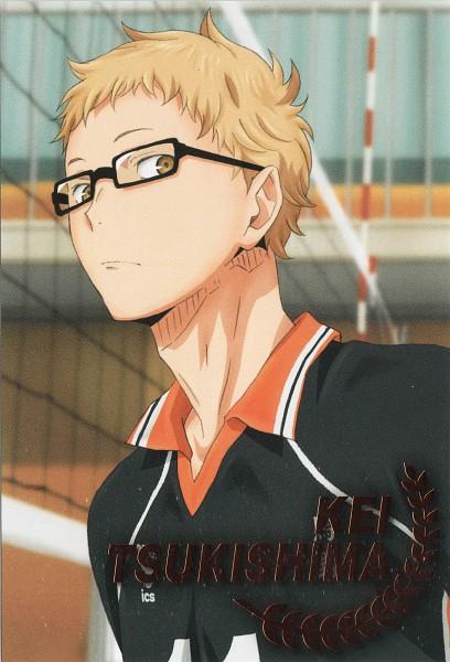 Tags: Anime, Production I.G., Haikyuu!!, Tsukishima Kei, Volleyball Uniform (Karasuno High), Mobile Wallpaper, Official Art